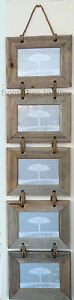 Chic Shabby Driftwood Rustic Wooden Five 5 Multi Hanging Photo Frame Large 6x4