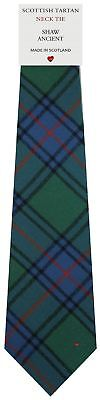Mens Wool Tie in Scottish Woven Shaw Ancient Tartan Shaw Ancient Tartan
