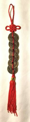 """FENG SHUI 9 1/2"""" 6 COINS LUCKY RED BUTTERFLY KNOT CHARM"""