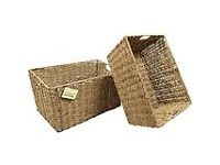 2 hardly used seagrass basket £5 each