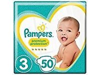 Pampers Premium Protection Size 3, 50 Nappies, 5-9 kg FREE POSTAGE
