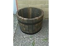 RUSTIC OAK WHISKEY BARREL GARDEN PLANTER