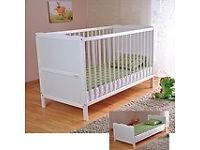 White Wood Baby Cot Bed & Mattress, Converts into a Junior Bed ✔ 3 Position