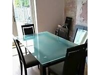 Solid Glass Top Dining Table And 4 Chairs H29 X W35 L59