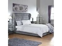Aria Wing Upholstered Bed Frame Double
