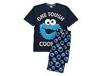 COOKIE MONSTER PJ SET BRAND NEW WITH TAGS INCLUDES 2 PAIR PANTS 1 TOP SIZE S