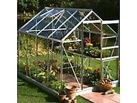 BRAND NEW IN THE BOX 8 X 6 GREENHOUSE FRAME WITH SEPARATE BASE UNIT