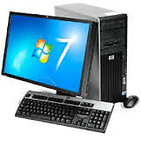 A desktop hp with a Monitor & Speakers for sale.