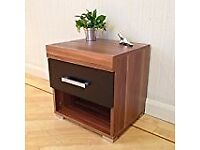 Black & Walnut Bedside Table / Cabinet with 1 Drawer Flat Pack