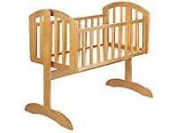 Swinging crib - pine wood + mattress (all included)