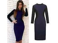 Oh vore navy and black illusion dress - new with tags size L - size 12