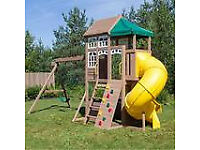 Brand new Childrens wooden outdoor playcentre. Cedar Summit lookout lodge premium playcentre. Costco