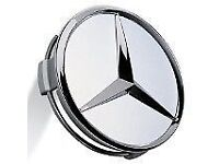 4 SILVER MERCEDES ALLOY WHEEL CENTRE CAPS 75mm CLK SLK AMG