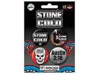 WWE - STONE COLD STEVE AUSTIN - BADGE PACK - PACK OF 4 BADGES - BRAND NEW for sale