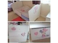 Girls Furniture Set Disney Minnie Mouse 3D Dresser+Crate+2in1 Cot/Junior Bed+mattress+Canopy+Bumper