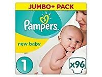 Pampers New Baby 96 Nappies, 2 - 5 kg, Size 1 Free postage