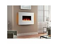NEW WHITE GLASS PANEL ELECTRIC WALL FIRE/HEATER