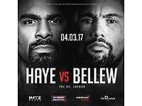 2 x VIP Haye v Bellew boxing tickets - Inner Ringside
