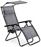 2 X Blue - Recliner Chairs w/ Drinks Holders, Canopy & Storing Bags