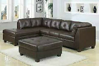 Beautiful, Brown Leather Sectional w/ chaise lounge & Ottoman