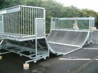 Professionally Constructed Half Pipe Skate Park and trailer