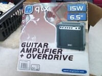 "QTX Guitar Amplifier + Overdrive 15W 6.5"" Practically brand new"