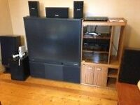 """Old Big  40"""" TV, Stand, Stereo"""