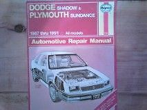 Haynes Manual for Dodge Shadow and Plymouth Sundance Peterborough Peterborough Area image 1