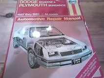 Haynes Manual for Dodge Shadow and Plymouth Sundance Peterborough Peterborough Area image 2