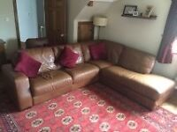 Large brown leather corner suite and single chair