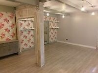 Showroom and workshop for rent. Easy all inclusive terms including cover by our sales staff