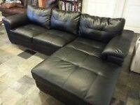 Black Leather 2 Piece Sectional  - Great Condition - 1 Yr Old