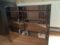 brand new glass and stainless steel chrome effect bathroom cabinet