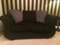DFS Pillow Back Sofas - Black & Grey with extra cushion covers