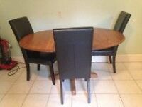 Solid Wood Kitchen Table and 3 Leather Chairs