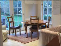 OAK DROP LEAF TABLE AND CHAIRS X 4 SEATS - 4/6 PEAPLE-SOLID OAK MODERN ANTIQUE BROUGHT FROM BRIGHTS