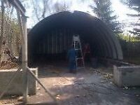 Great steel Quonset hut building