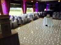 Chair cover / mood lighting / LED dance floor / LED Aisle / Backdrop Hire / venue decoration package