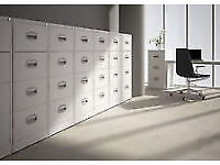Strong 'Silverline' metal filing cabinets with lock/key, like new condition