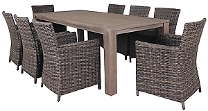 OUTDOOR SETTING 9 Piece Wicker, Timber & Alum Setting RRP $2299