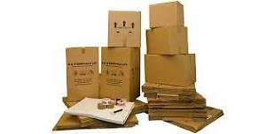 Moving boxes and packing paper