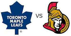 Toronto Maple Leafs vs Ottawa Senators **4 Seats in a row**