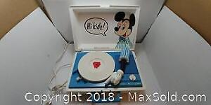 Vintage Mickey Mouse Record Player Walt Disney Production