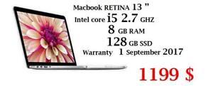 APPLE MACBOOK RETINA 13 i5 2.7 ghz 8GB 128GB WARRANTY MARCH 10 2017, OFFICE PRO 2016,LOGIC PRO XMASTER SUITE DE ADOBE