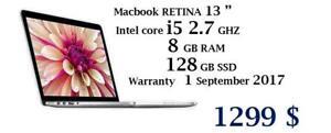 MACBOOK RETINA 13 i5 2.7 ghz 8GB 128GB WARRANTY 09.01.2017 OFFICE PRO 2016,LOGIC PRO XMASTER SUITE DE ADOBE