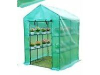 Large walk in metal frame/plastic covered greenhouse