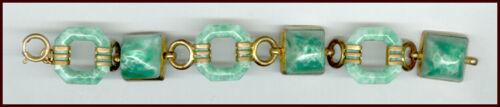 Cool Art Deco Jade Green Glass & Brass Link Bracelet