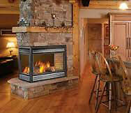 3 sided natural gas fireplace