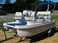 Escape Cruz ELECTRIC Powered Deck Boat - clean, & safe pontoon