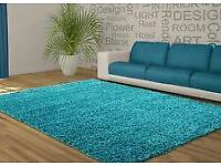 TEAL SHAGGY RUG FOR SALE 120X170